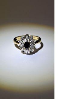 9ct gold ,diamond & sapphire ring
