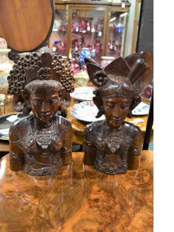 Carved burmese wooden busts