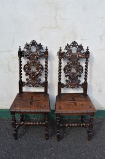 Pair victorian carved oak chairs