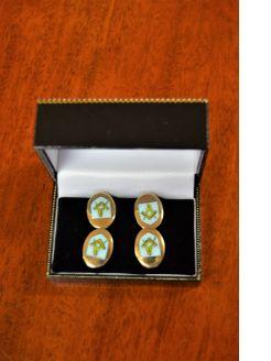 Pair of gilt & enamel cufflinks