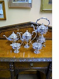Irish silver five piece tea-set