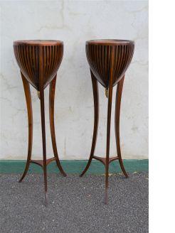 Pair of mahogany jardinieres