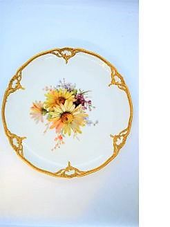 KPM Berlin porcelain cabinet plate with gilt edging.