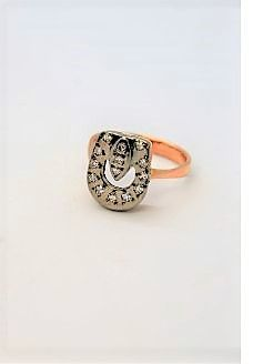 14ct gold & diamond russian ring
