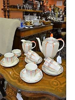 Art deco coffee set  (15 piece) hand painted