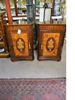 Pair mahogany corner cabinets with inlay