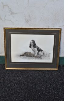 Gilt framed signed engraving