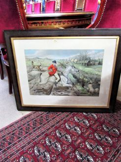 19th century walnut framed hunting engraving