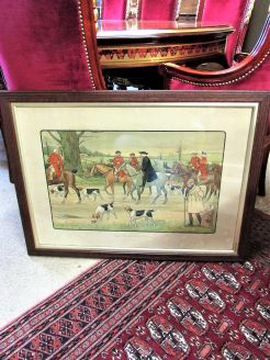 Oak framed hunting engraving