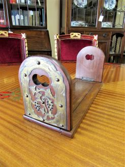 Victorian mahogany bookslide with brass mounts