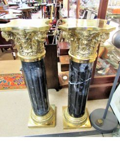 Gilt / brass , marble pedestal pillars