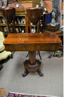 Victorian rosewood turn over leaf card table
