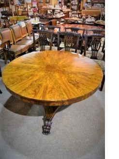 19th century circular walnut feather table