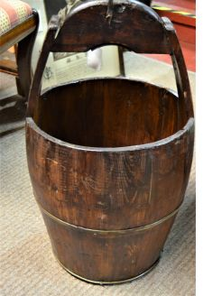 Old wooden rice bucket