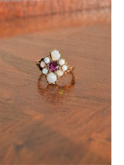 9ct gold opal & ruby ring