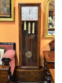 Art deco walnut cased clock