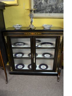 Victorian two door ebony display cabinet