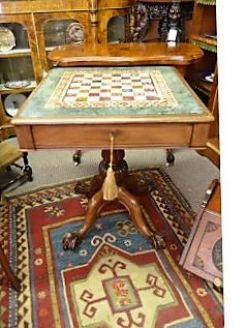 19th century mahogany and marble top games table