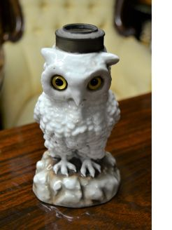 Victorian porcelain owl lamp base