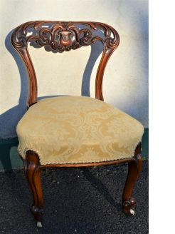 Pair of walnut victorian low chairs
