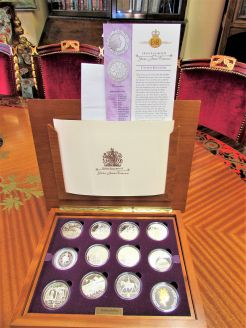 Cased royal mint golden jubilee sterling silver coin collection