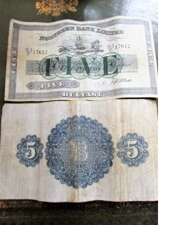 Old northern bank five pound notes