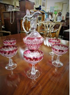 Claret jug with silver mounts & six glasses