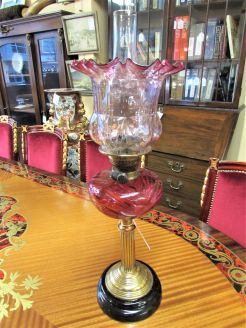 Victorian ruby oil lamp