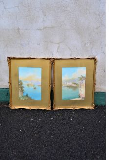 Pair gilt framed watercolours
