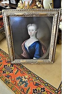 Early 18th century oil portrait in gilt frame