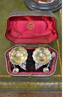 Pair of silver plated victorian silver salts in case