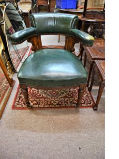 Victorian green leather desk chair