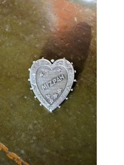 Silver mizpah brooch