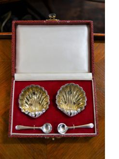 Silver salts & spoons ,cased