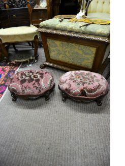 Pair of victorian mahogany stools