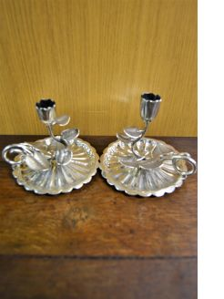 Pair of william IV silver chamber sticks