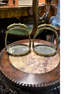 Large pair of cast bronze chinese stirrups