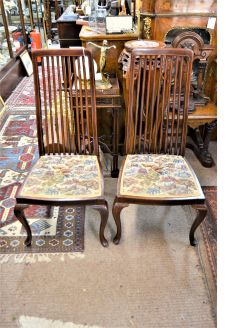 Pair of edwardian mahogany chairs