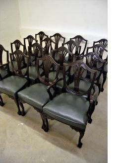 Set of sixteen mahogany chairs