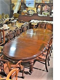 Victorian mahogany D-ended dining table