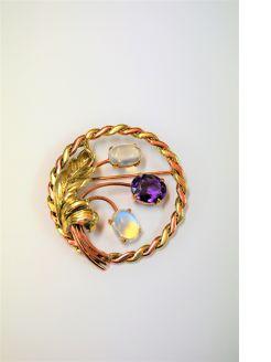 14ct gold opal & amethyst brooch