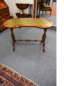 Victorian walnut leather top writing table