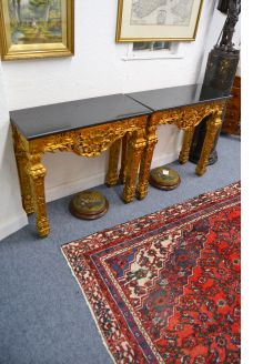 Pair of marble top giltwood tables