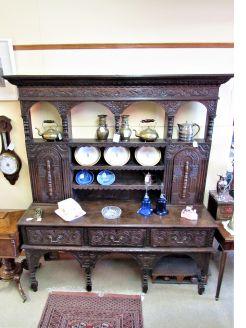 Victorian carved oak dresser