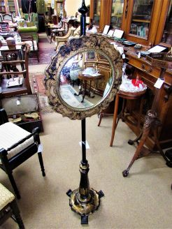 Ebony & gilt victorian pole screen