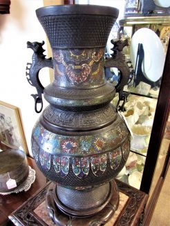19th century chinese cloisonne vase on carved stand
