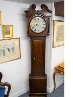 19th century oak case grandfather clock