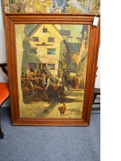 Large oak framed oil on board oil painting