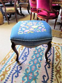 Victorian mahogany stool with woolwork cover