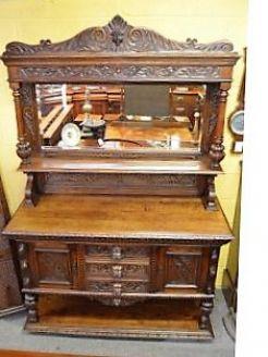 Victorian oak mirror back sideboard